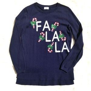 Crown & Ivy navy Fa La La Christmas sweater sequin